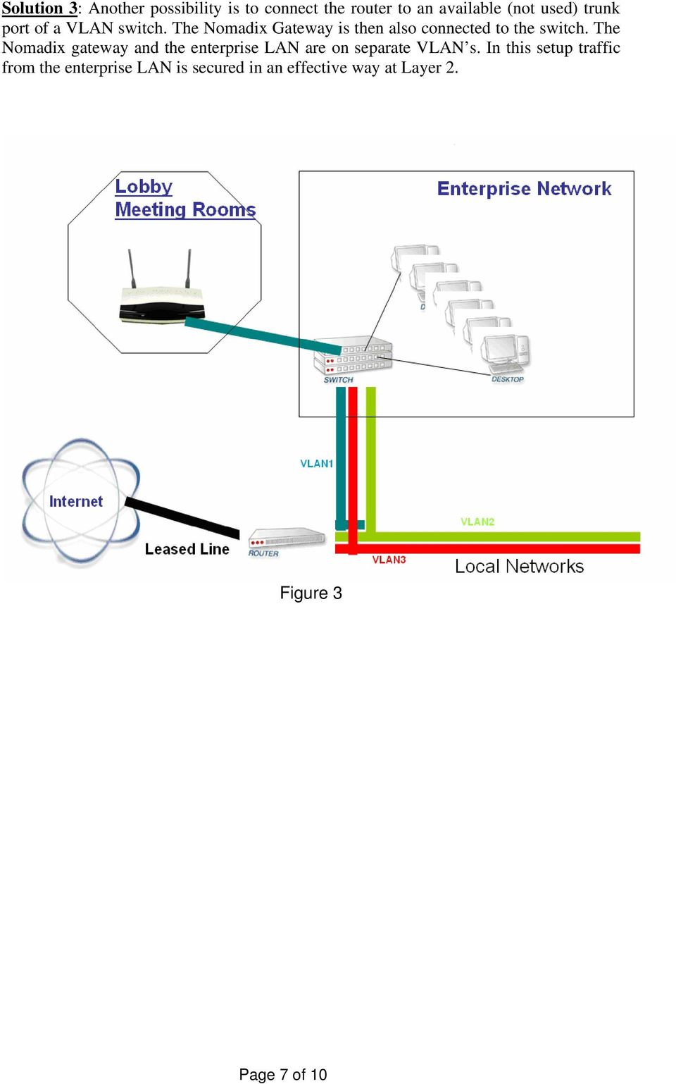 The Nomadix gateway and the enterprise LAN are on separate VLAN s.