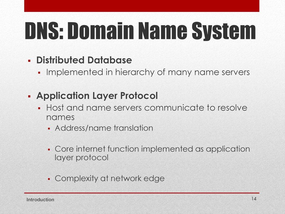 communicate to resolve names Address/name translation Core internet