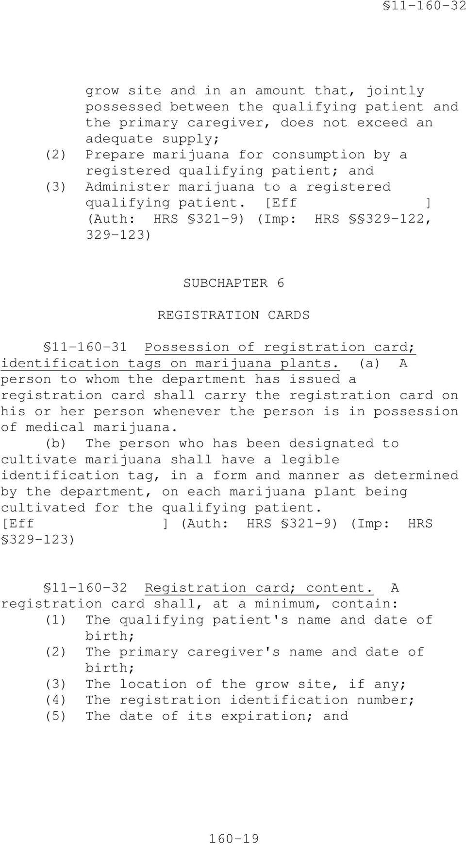 [Eff ] (Auth: HRS 321-9) (Imp: HRS 329-122, 329-123) SUBCHAPTER 6 REGISTRATION CARDS 11-160-31 Possession of registration card; identification tags on marijuana plants.