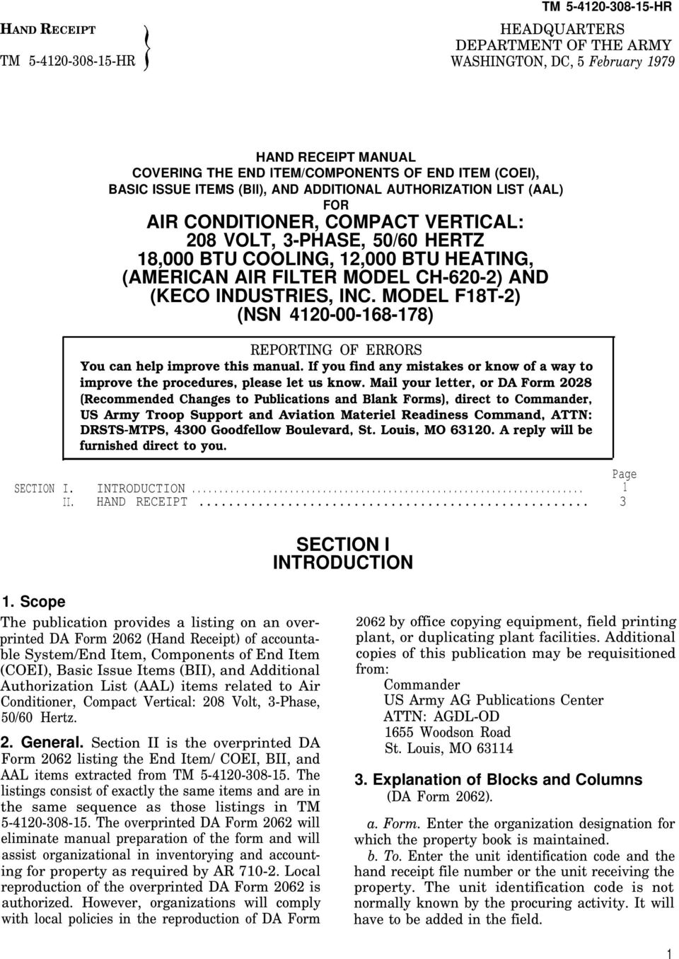 CH-620-2) AND (KECO INDUSTRIES, INC. MODEL F18T-2) (NSN 4120-00-168-178) REPORTING OF ERRORS You can help improve this manual.