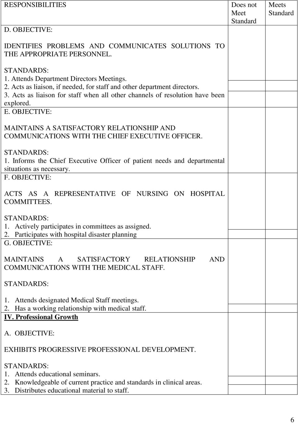 OBJECTIVE: MAINTAINS A SATISFACTORY RELATIONSHIP AND COMMUNICATIONS WITH THE CHIEF EXECUTIVE OFFICER. 1. Informs the Chief Executive Officer of patient needs and departmental situations as necessary.