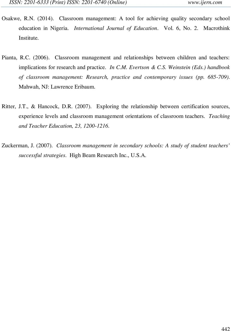 Classroom management and relationships between children and teachers: implications for research and practice. In C.M. Evertson & C.S. Weinstein (Eds.