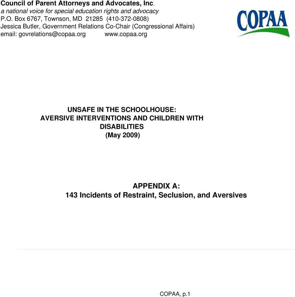 Affairs) email: govrelations@copaa.