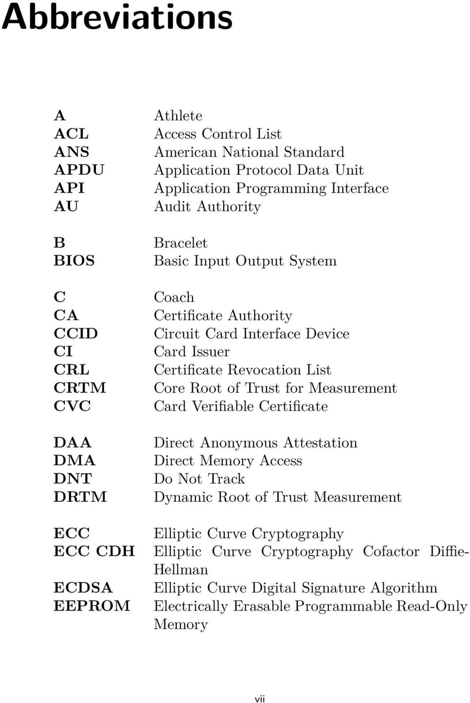 Certificate Revocation List Core Root of Trust for Measurement Card Verifiable Certificate Direct Anonymous Attestation Direct Memory Access Do Not Track Dynamic Root of Trust
