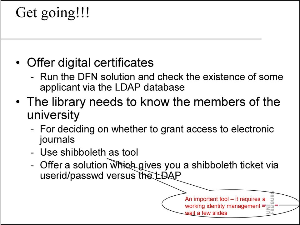 database The library needs to know the members of the university For deciding on whether to grant access to