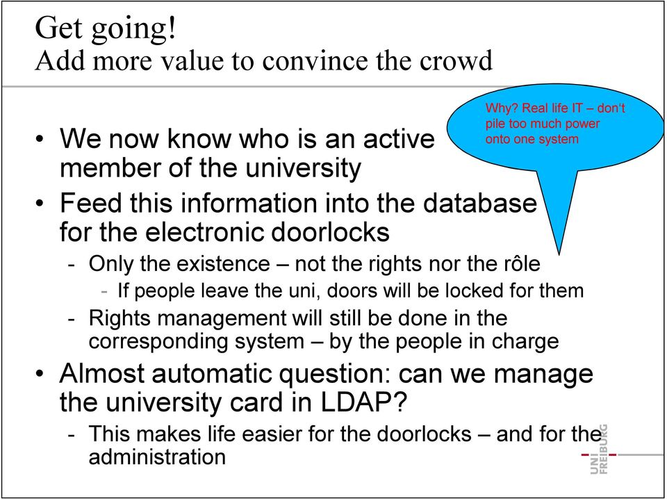 electronic doorlocks Only the existence not the rights nor the rôle Why?