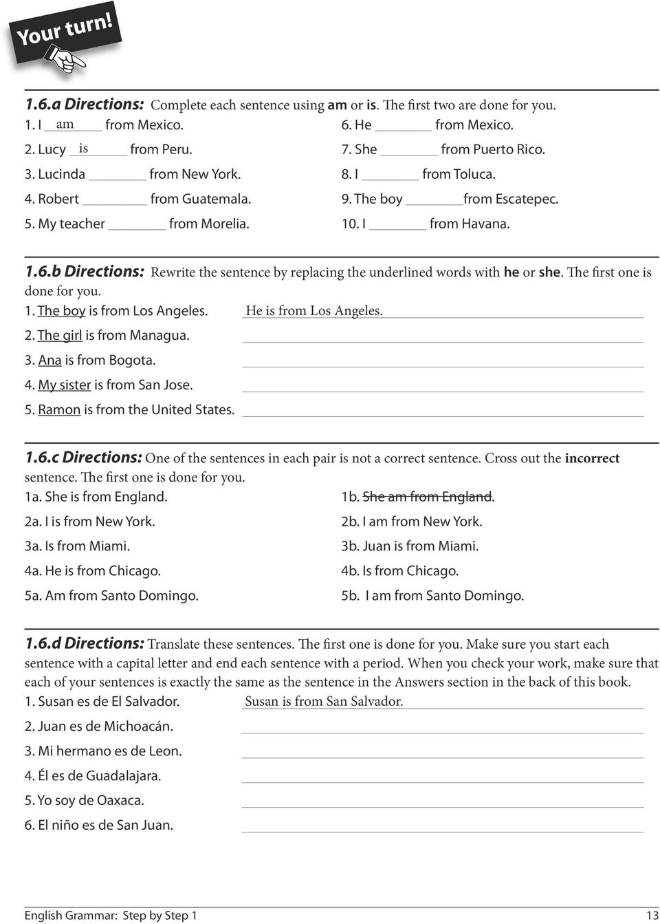 worksheet En El Vecindario Capitulo 2 Worksheet Answers english grammar step by tenaya press palo alto ca written b directions rewrite the sentence replacing underlined words with he or she