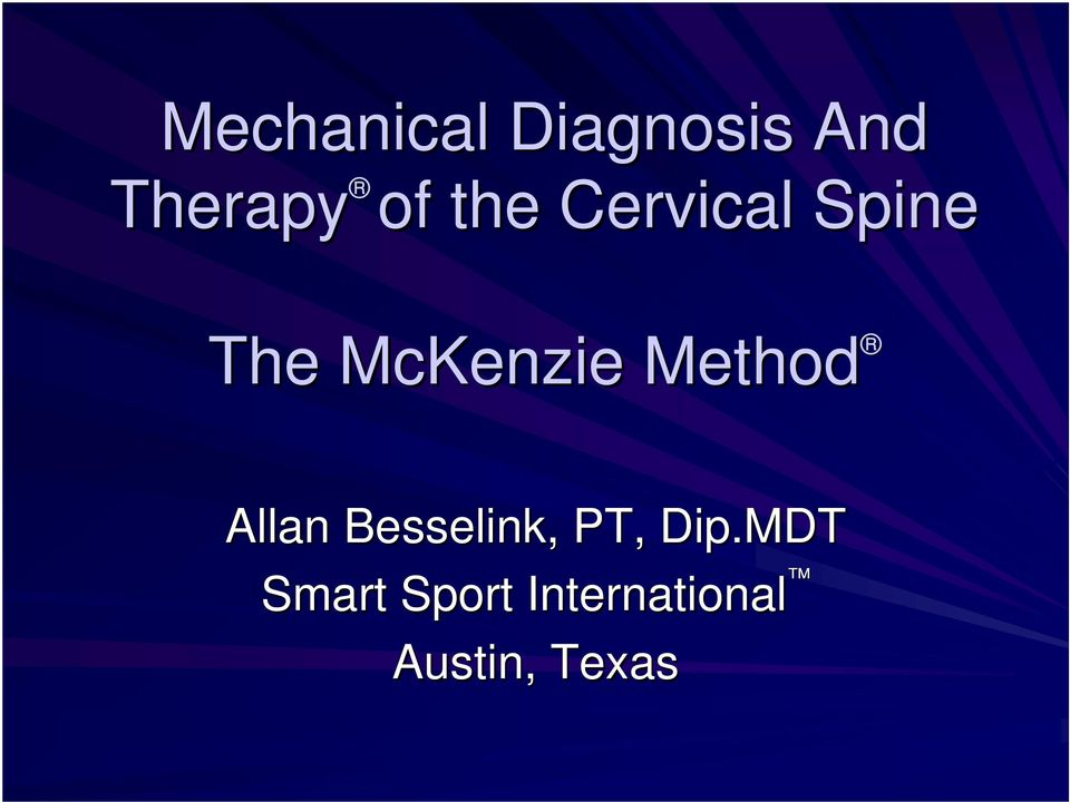 Method Allan Besselink, PT, Dip.