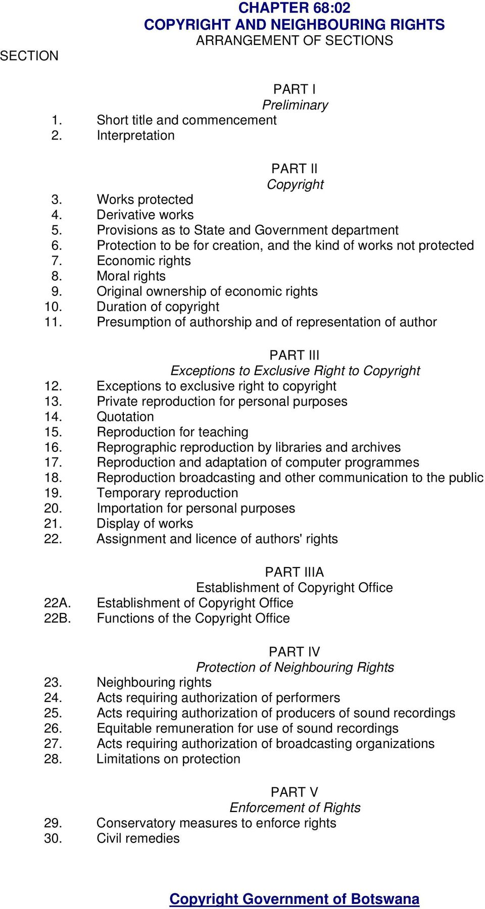 Original ownership of economic rights 10. Duration of copyright 11. Presumption of authorship and of representation of author PART III Exceptions to Exclusive Right to Copyright 12.