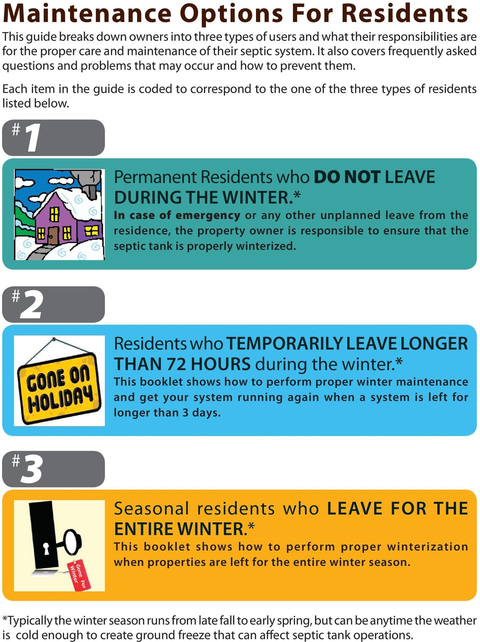 # 1 Permanent Residents who DO NOT LEAVE during the winter.