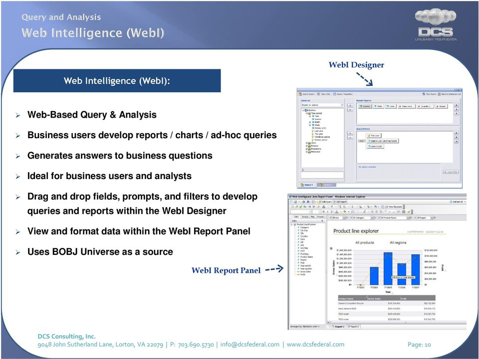 develop queries and reports within the WebI Designer View and format data within the WebI Report Panel Uses BOBJ Universe as a