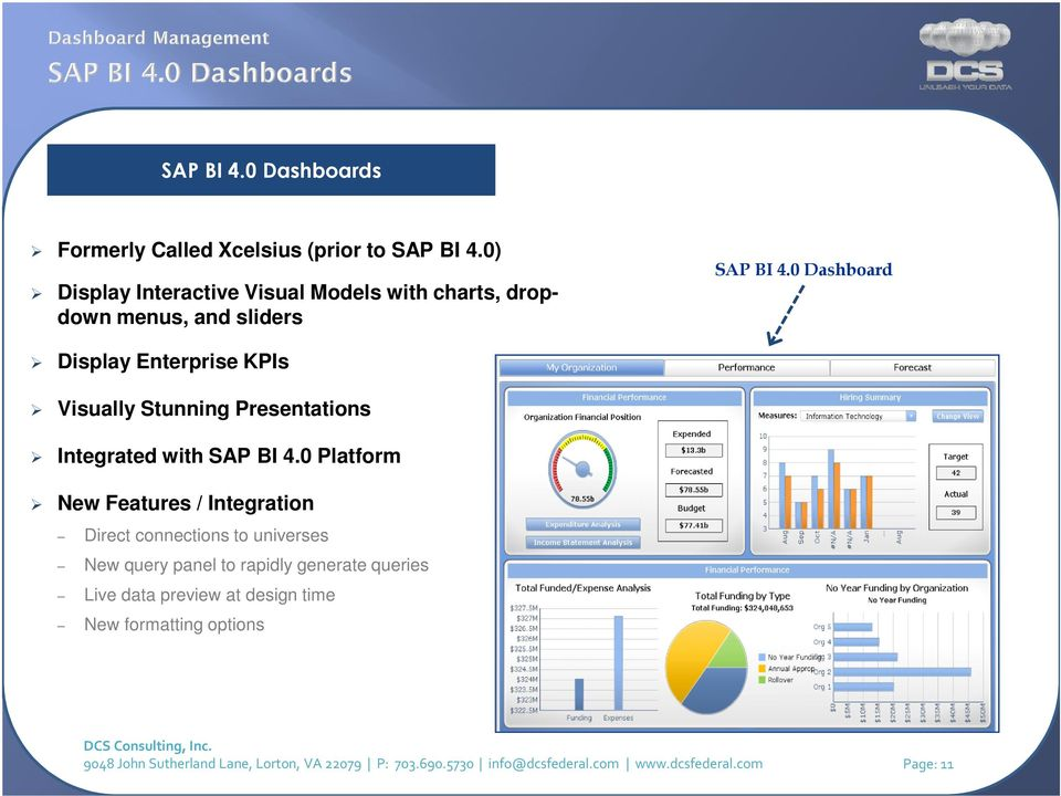 0 Dashboard Display Enterprise KPIs Visually Stunning Presentations Integrated with SAP BI 4.