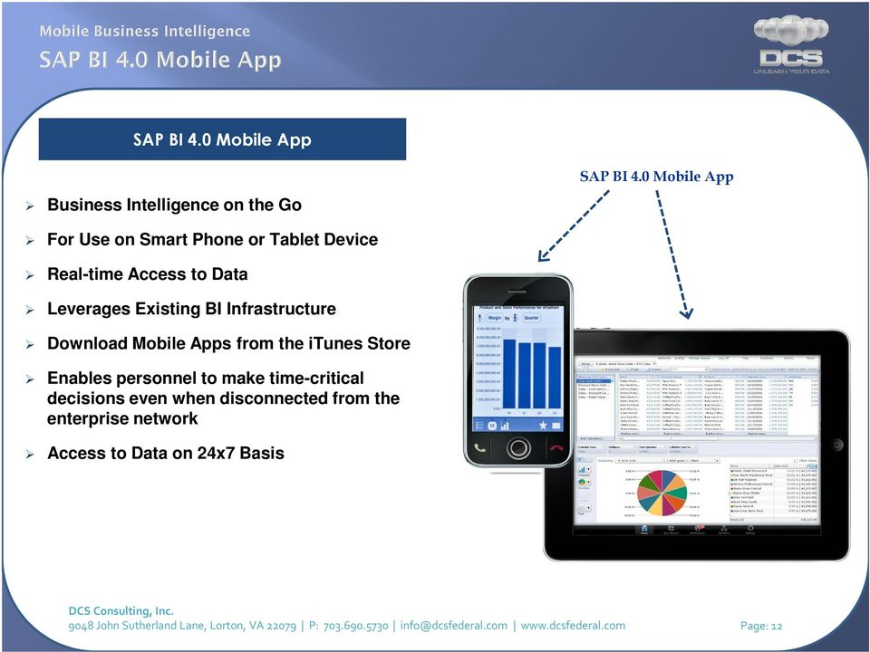 Download Mobile Apps from the itunes Store Enables personnel to make time-critical decisions even when