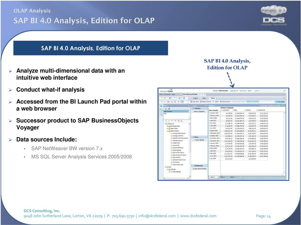 Successor product to SAP BusinessObjects Voyager Data sources Include: SAP NetWeaver BW version 7.