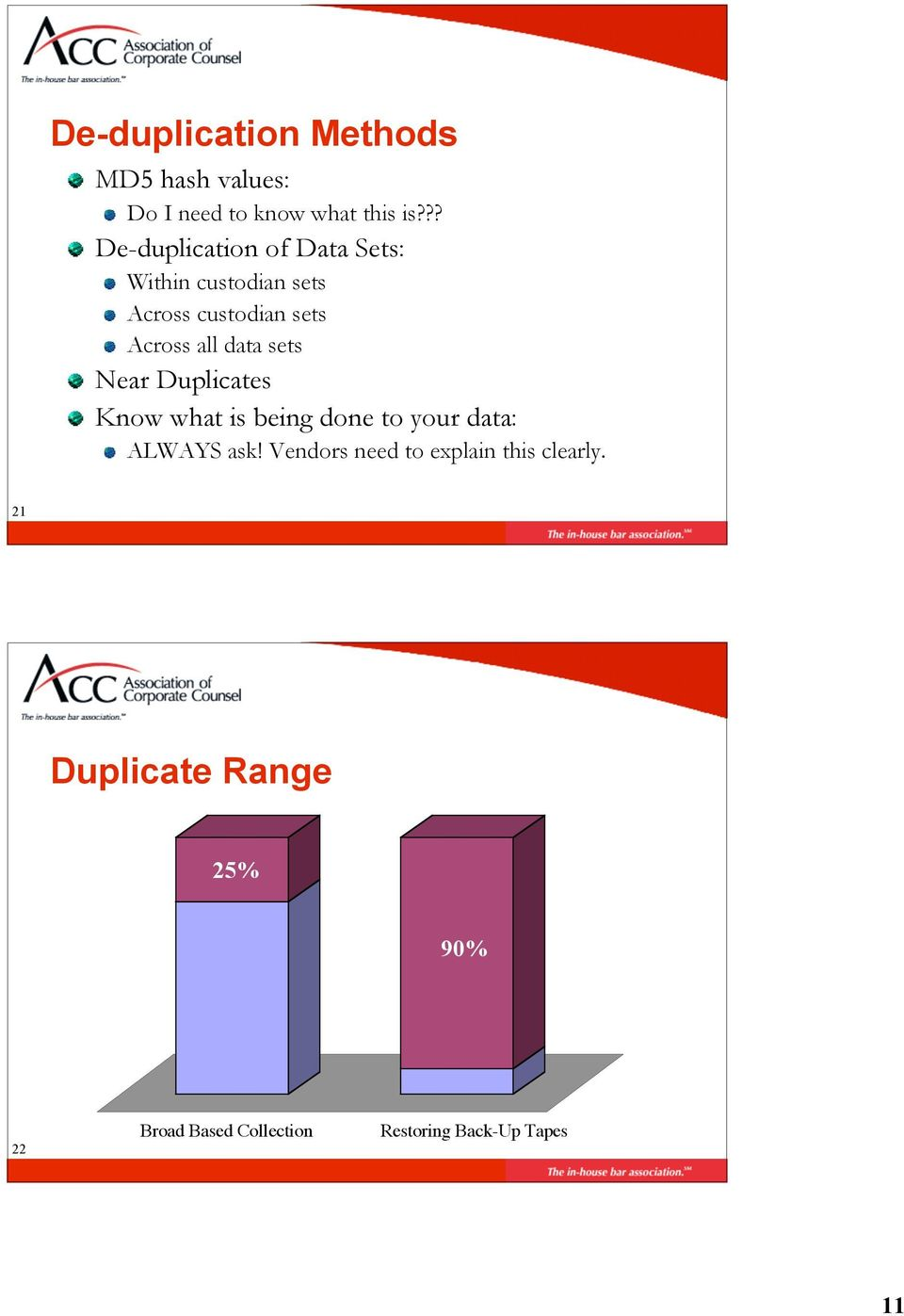 sets Near Duplicates Know what is being done to your data: ALWAYS ask!