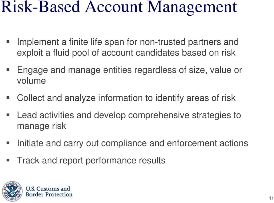 Collect and analyze information to identify areas of risk Lead activities and develop comprehensive