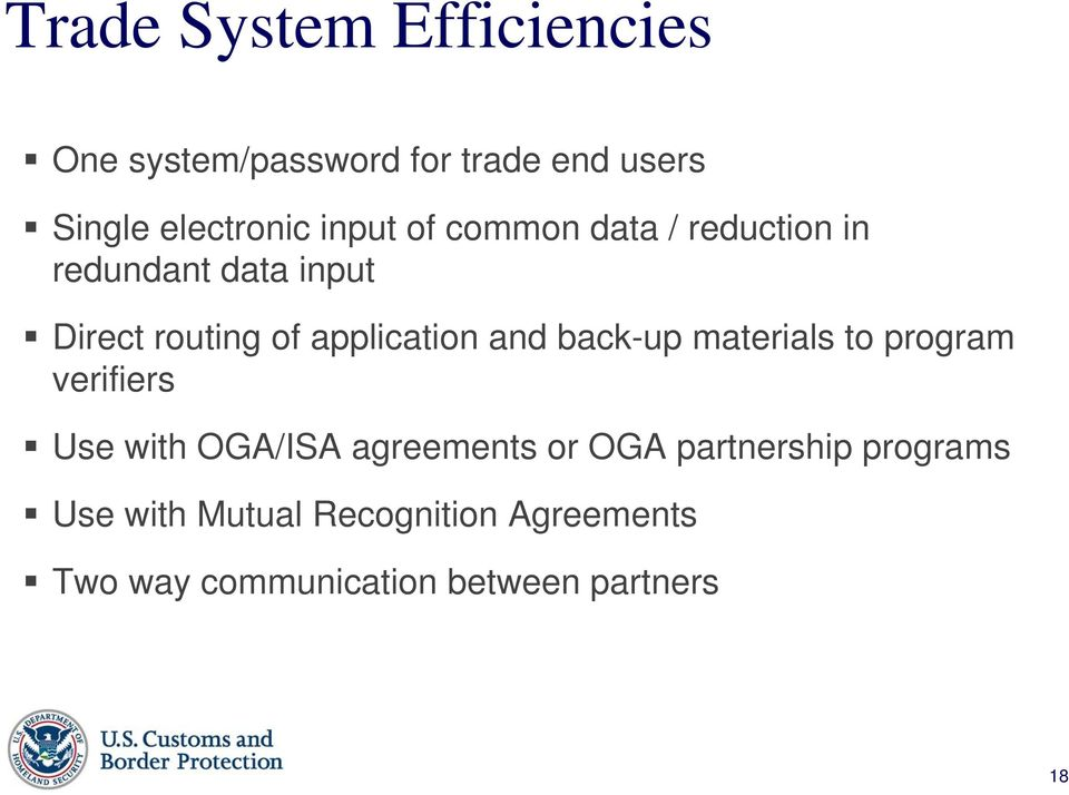 back-up materials to program verifiers Use with OGA/ISA agreements or OGA partnership