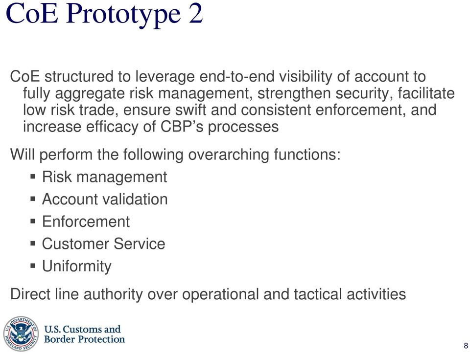 increase efficacy of CBP s processes Will perform the following overarching functions: Risk management