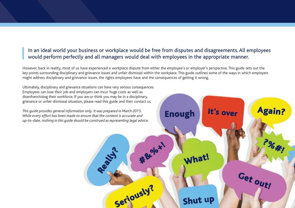 This guide sets out the key points surrounding disciplinary and grievance issues and unfair dismissal within the workplace.