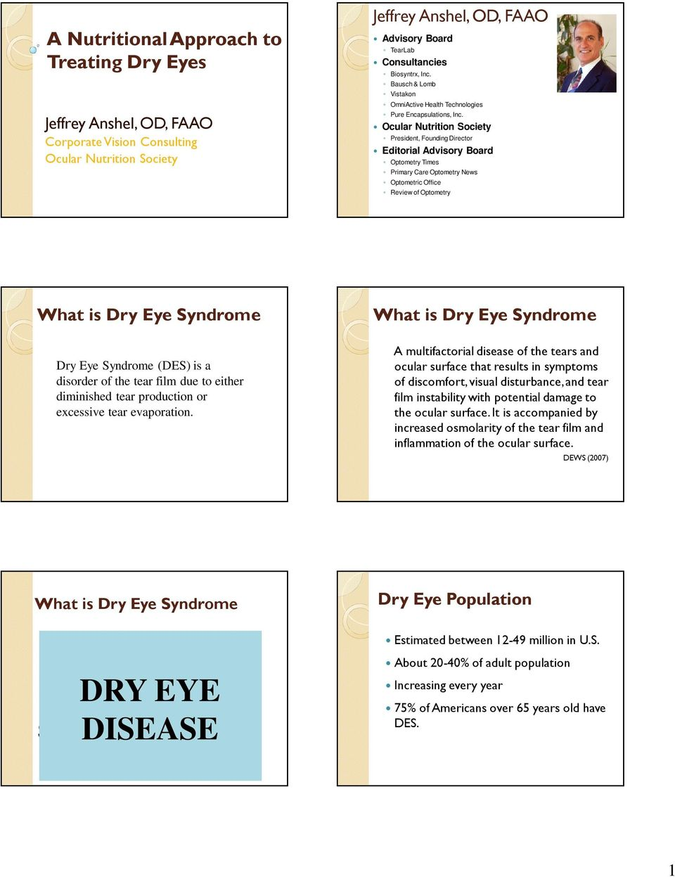 Ocular Nutrition Society President, Founding Director Editorial Advisory Board Optometry Times Primary Care Optometry News Optometric Office Review of Optometry What is Dry Eye Syndrome Dry Eye