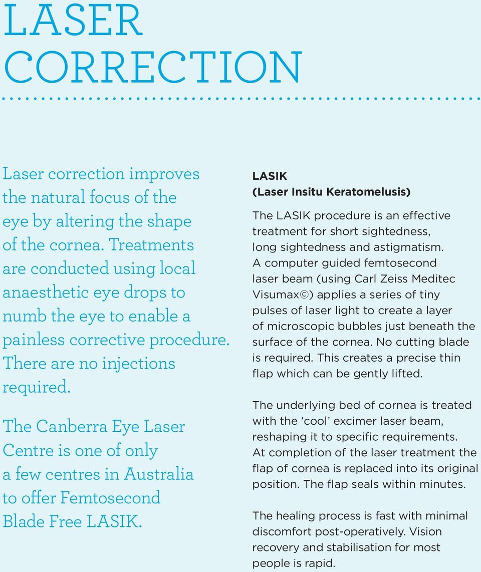 The Canberra Eye Laser Centre is one of only a few centres in Australia to offer Femtosecond Blade Free LASIK.
