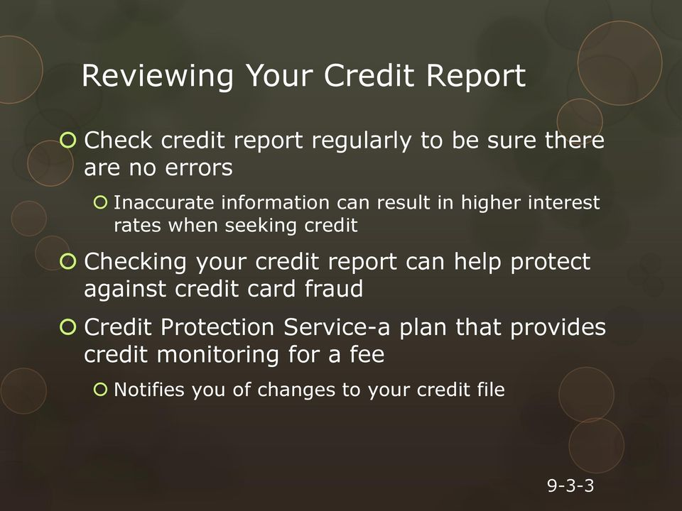 your credit report can help protect against credit card fraud Credit Protection Service-a
