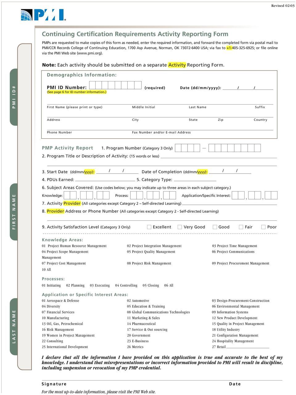 Note: Each activity should be submitted on a separate Activity Reporting Form. LAST NAME FIRST NAME PMI ID# (See page 6 for ID number information.