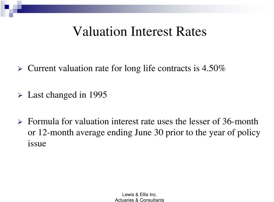 50% Last changed in 1995 Formula for valuation interest