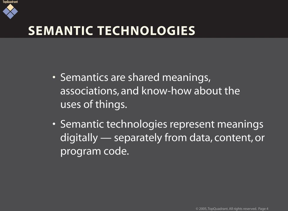 Semantic technologies represent meanings digitally separately