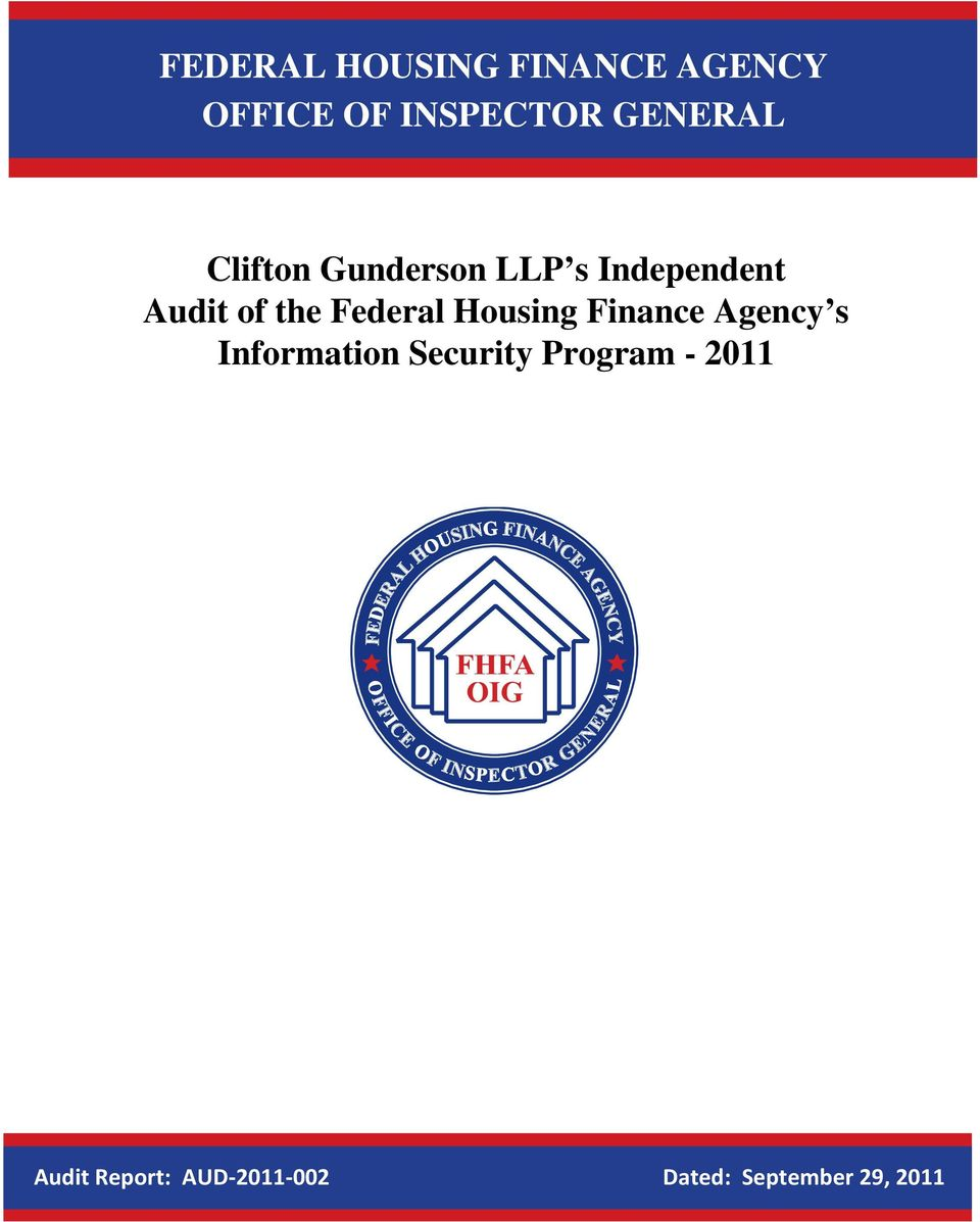 Federal Housing Finance Agency s Information Security
