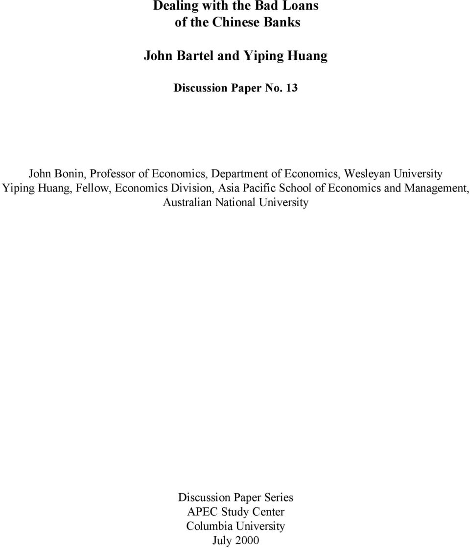 Yiping Huang, Fellow, Economics Division, Asia Pacific School of Economics and Management,