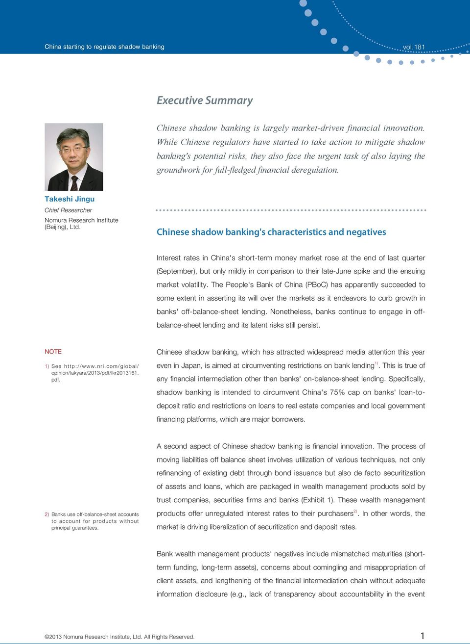 Takeshi Jingu Chief Researcher Nomura Research Institute (Beijing), Ltd.