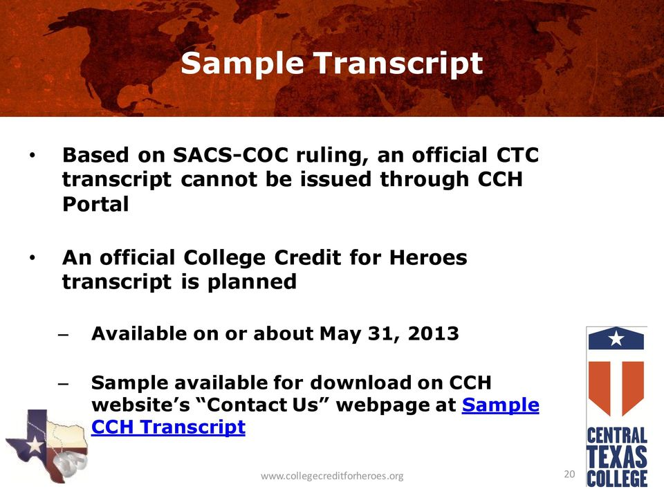 planned Available on or about May 31, 2013 Sample available for download on CCH