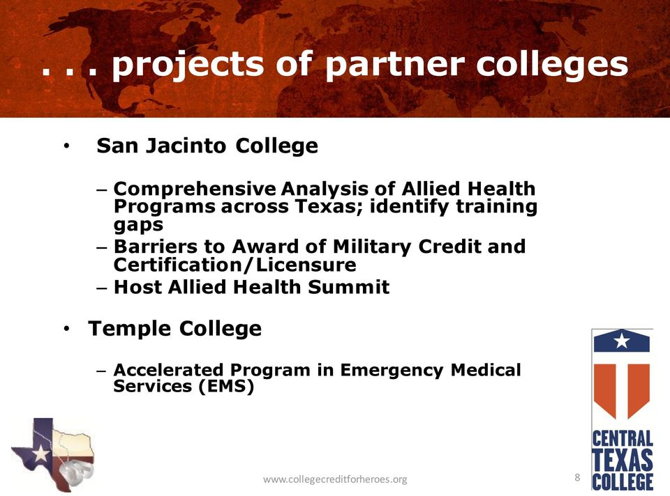 Military Credit and Certification/Licensure Host Allied Health Summit Temple