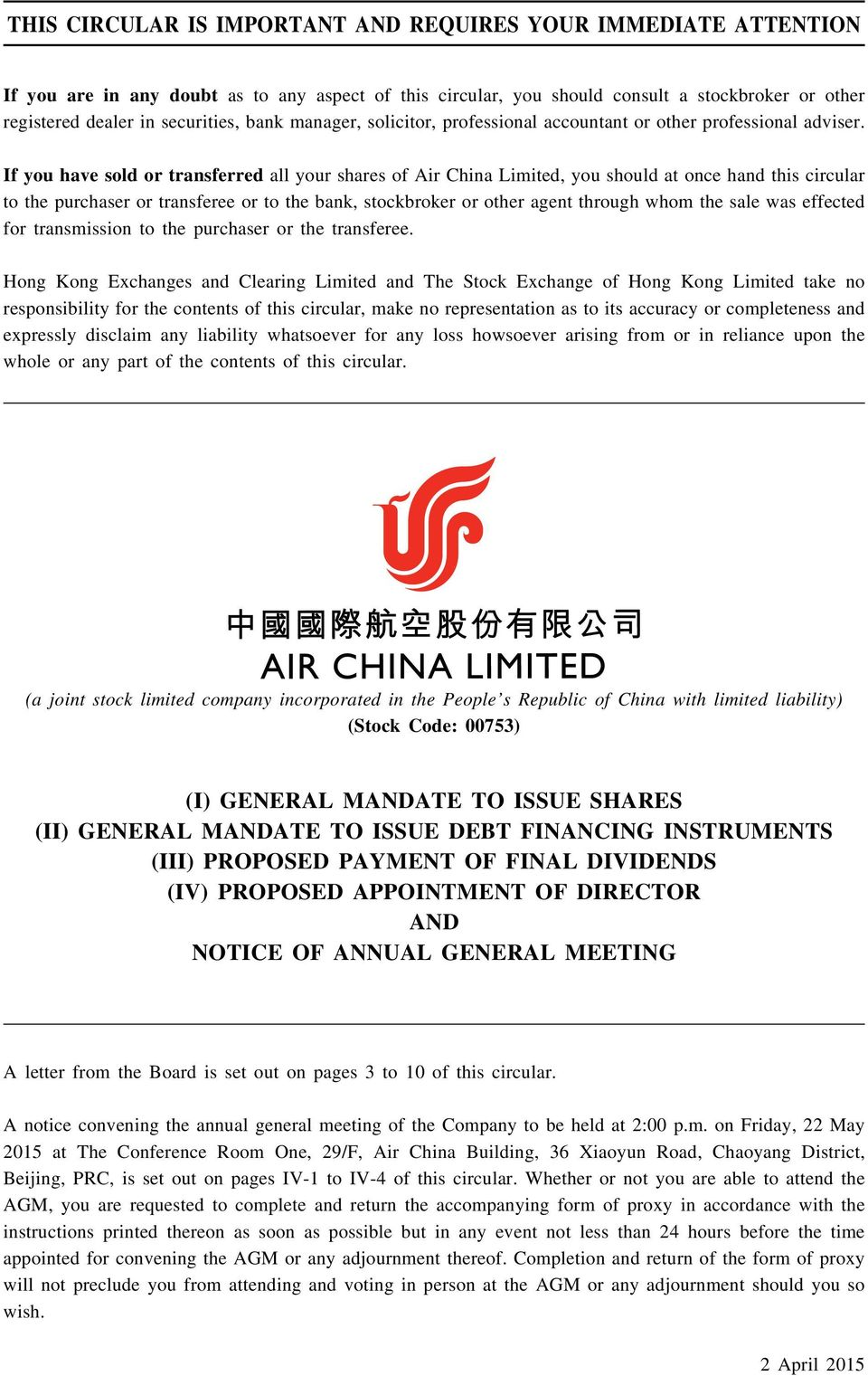 If you have sold or transferred all your shares of Air China Limited, you should at once hand this circular to the purchaser or transferee or to the bank, stockbroker or other agent through whom the