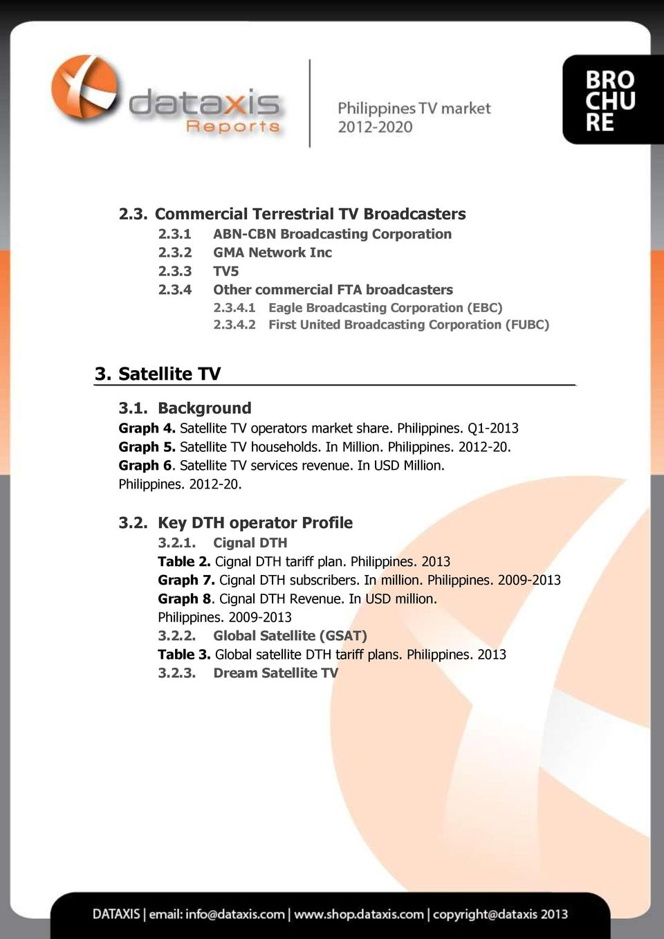 Philippines. 2012-20. Graph 6. Satellite TV services revenue. In USD Million. Philippines. 2012-20. 3.2. Key DTH operator Profile 3.2.1. Cignal DTH Table 2. Cignal DTH tariff plan. Philippines. 2013 Graph 7.
