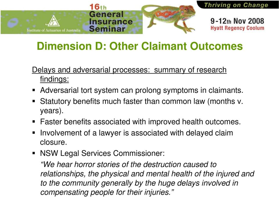 Involvement of a lawyer is associated with delayed claim closure.