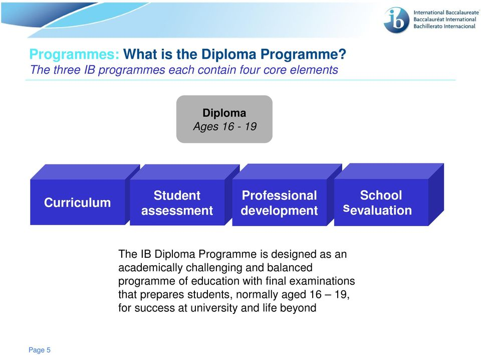 assessment Professional development School sevaluation The IB Diploma Programme is designed as an