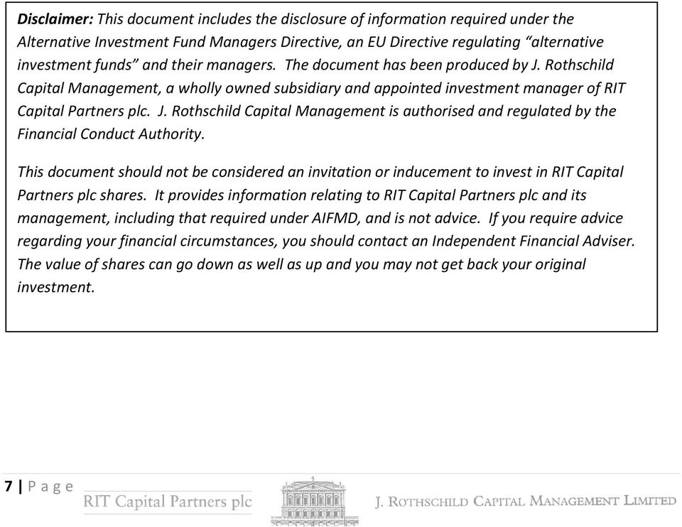 This document should not be considered an invitation or inducement to invest in RIT Capital Partners plc shares.
