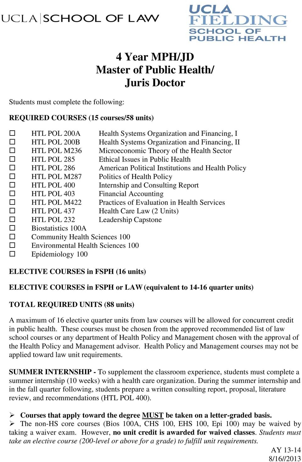 Policy HTL POL M287 Politics of Health Policy HTL POL 400 Internship and Consulting Report HTL POL 403 Financial Accounting HTL POL M422 Practices of Evaluation in Health Services HTL POL 437 Health