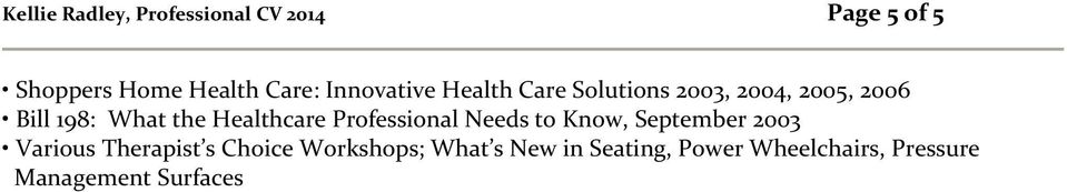 Healthcare Professional Needs to Know, September 2003 Various Therapist s