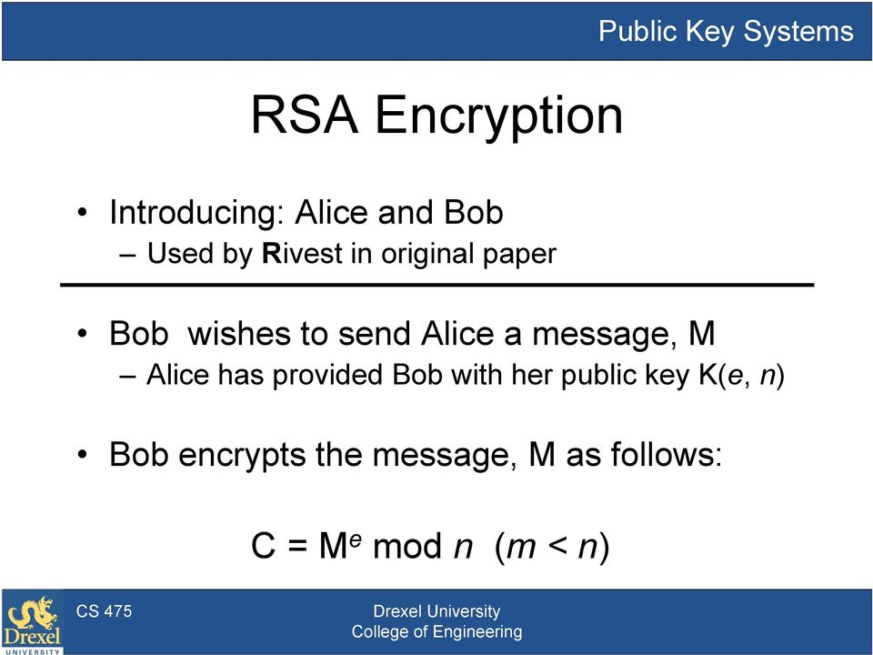 message, M Alice has provided Bob with her public key K(e,