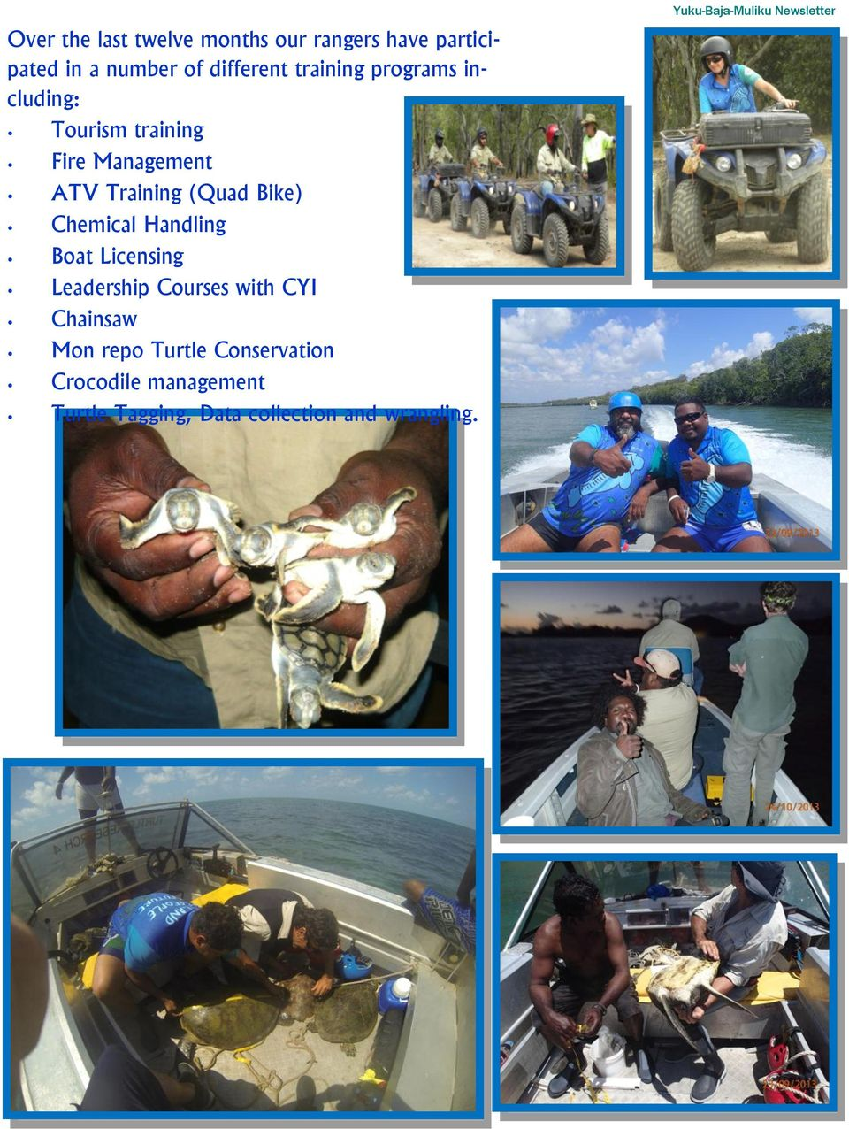 Chemical Handling Boat Licensing Leadership Courses with CYI Chainsaw Mon repo Turtle