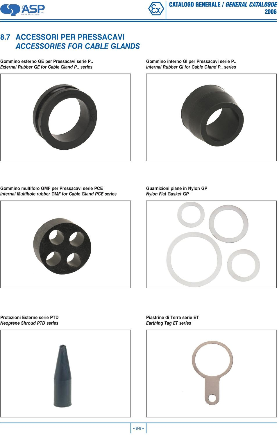 . series Gommino multiforo GM per Pressacavi serie PCE Internal Multihole rubber GM for Cable Gland PCE series Guarnizioni piane