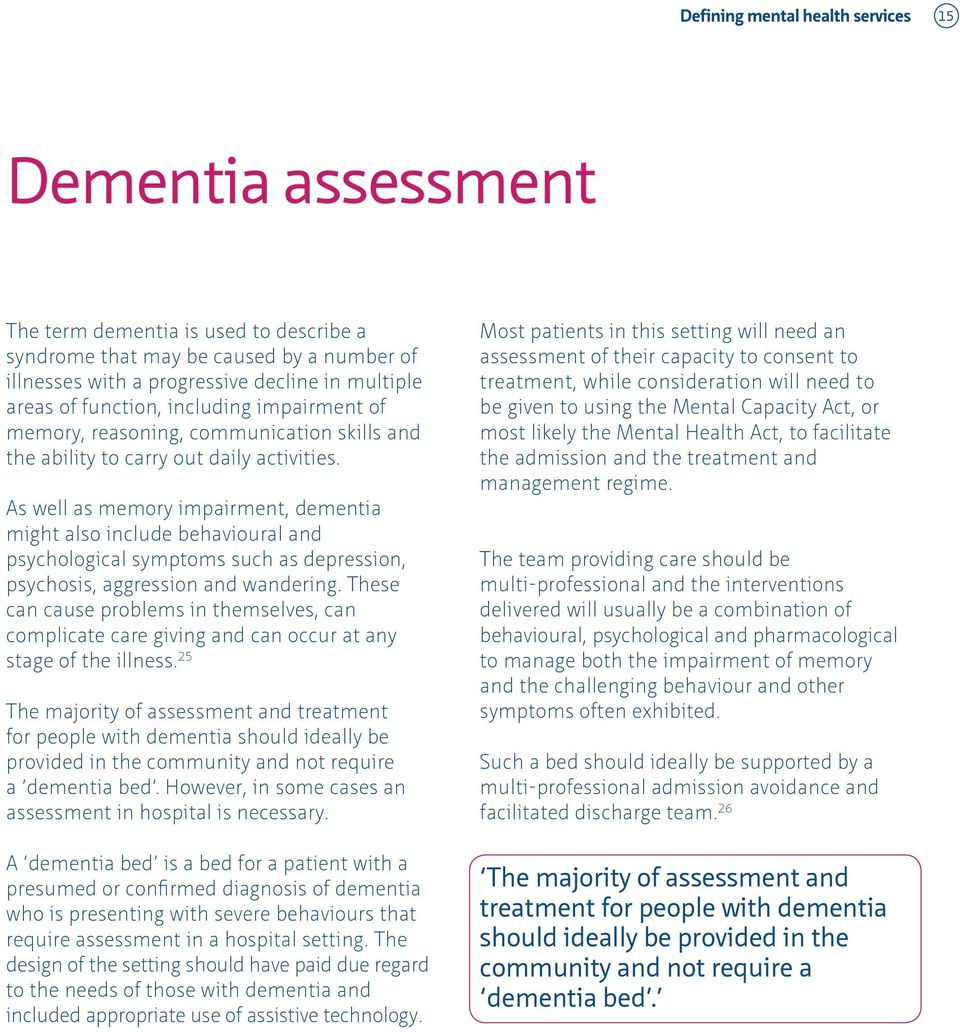 As well as memory impairment, dementia might also include behavioural and psychological symptoms such as depression, psychosis, aggression and wandering.