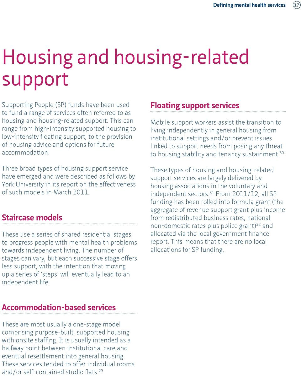Three broad types of housing support service have emerged and were described as follows by York University in its report on the effectiveness of such models in March 2011.
