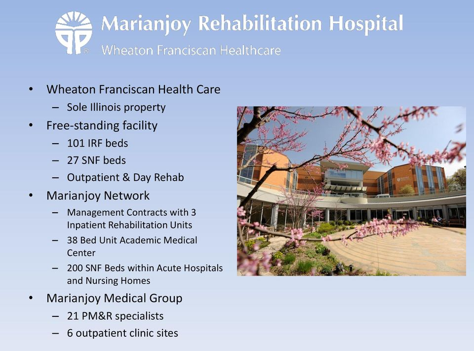 Rehabilitation Units 38 Bed Unit Academic Medical Center 200 SNF Beds within Acute