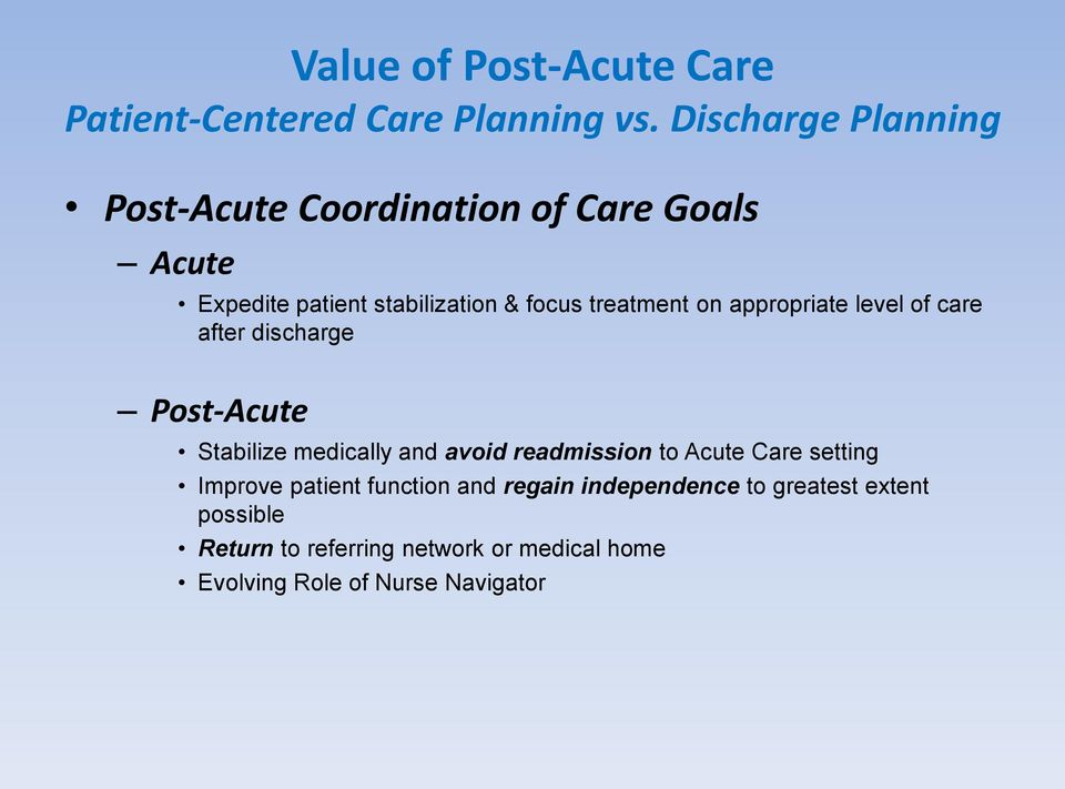 on appropriate level of care after discharge Post-Acute Stabilize medically and avoid readmission to Acute Care
