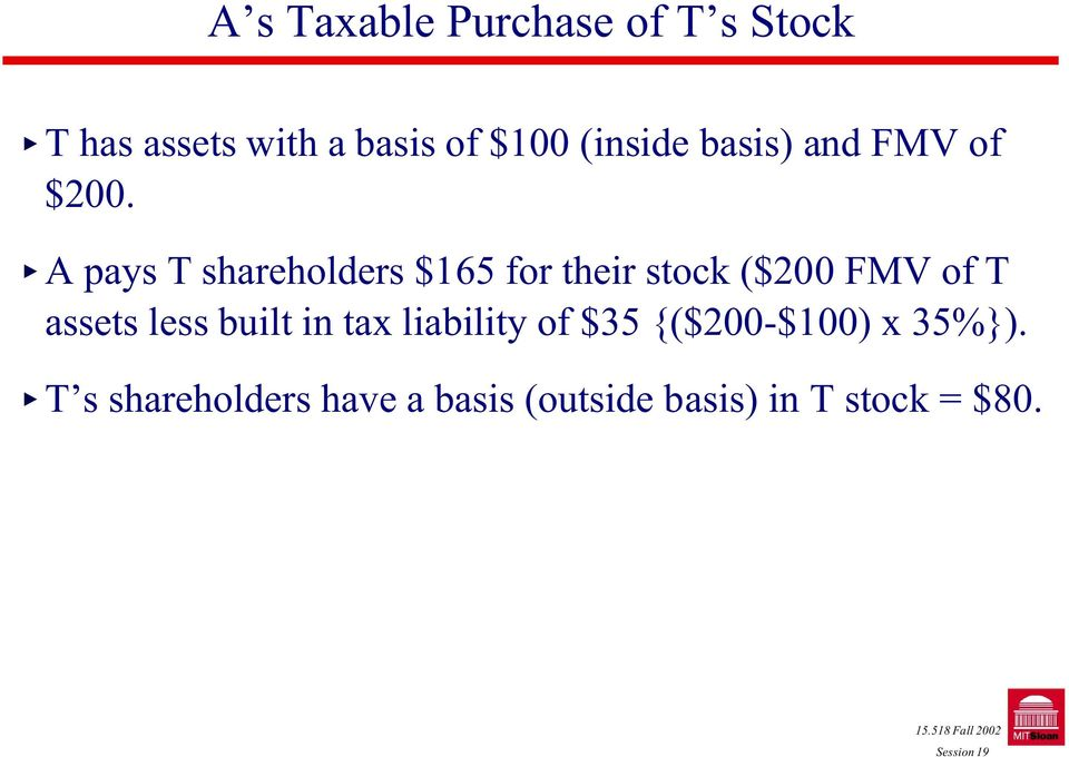 A pays T shareholders $165 for their stock ($200 FMV of T assets less