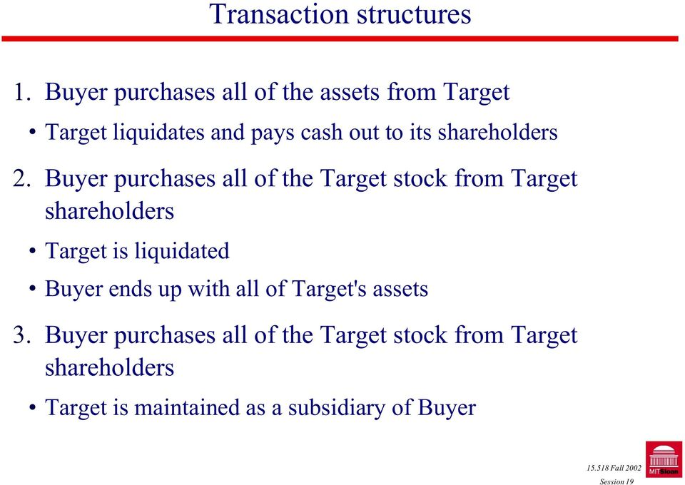 Buyer purchases all of the Target stock from Target shareholders! Target is liquidated!
